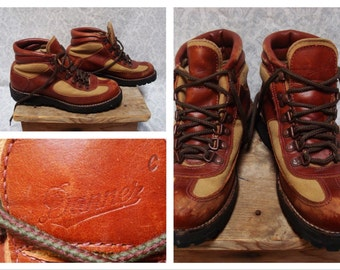 Vintage Retro Men's Danner Hiking Boots Heavy Duty Brown Leather Ankle Boots size 8.5 Womens 10 Made in USA