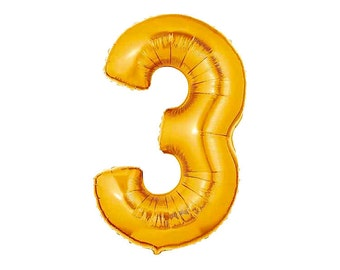 Jumbo Number Three Gold Foil (Mylar) Balloons - 40 Inch - Hanging Decorations Party Supplies