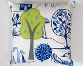 Garden lover Decorative Cushion - green fruit tree on blue and white botanical design fabric - handmade home accessory or garden lovers gift