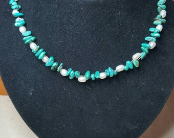 Genuine turquoise chips, cultured freshwater pearls and sterling silver  necklace.