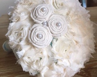 SALE!!!Shabby chic flower bouquet, Aqua Blue shabby chic vintage bouquet, Jeweled Bouquet, brooch Bouquet, ready to ship, ramos
