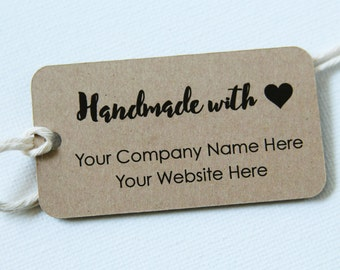 Handmade with Love Tag - Business Tag - Personalized Tags - Custom Tags - 36 Pieces