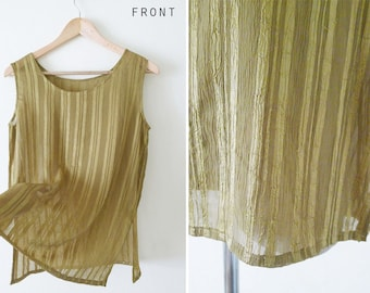 VTG semi sheer gold stripe sleeveless blouse,see through blouse,plain summer tank, slouchy, hipster, unique texture,comfy, Minimalist, S-M-L