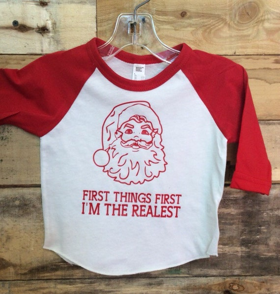 First Things First I'm The Realest Santa Merry Christmas Baseball Tee
