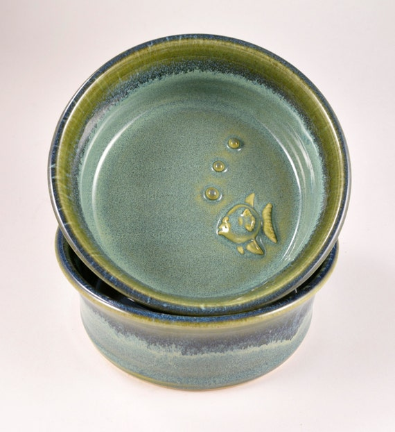 Cat dish bowl set with fish bubbles wheel thrown stoneware for Bubbles in fish bowl