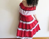 Vintage Handmade Mexican Spanish Red Blackand White Lace Off the Shoulder Peasant Dress