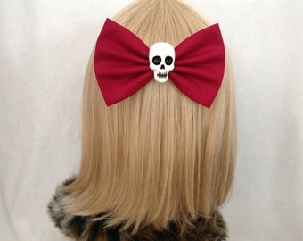 Large Burgundy skull hair bow clip rockabilly psychobilly gothic maroon Lolita rock punk pin up girl retro oversized Dark red halloween