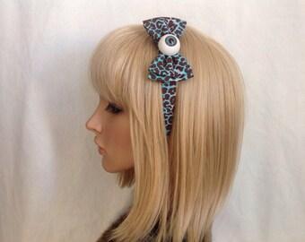 Eyeball headband hair bow rockabilly psychobilly sugar gothic Lolita cute pin up creepy horror zombie blue leopard accessories punk ladies