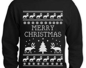 Merry Christmas Ugly Sweater Men Sweatshirt Funny Reindeer