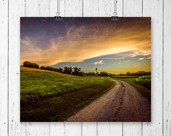 Nature Photography Sunset Art Country Home Decor Rustic Wall Art Country Girl Gifts Farmhouse Chic Gift for Hiker Office Decor Serenity Art