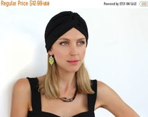 SALE Black Turban Hijab Wrap Hat, Black Head Band, Elastic Hat