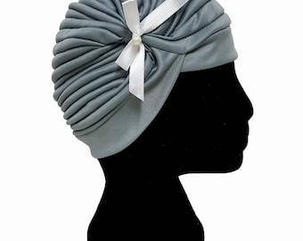 Pleated Turban Hat Head Wrap with Bow Tie, Hair wrap accessories, modern hijab, Wedding Hat