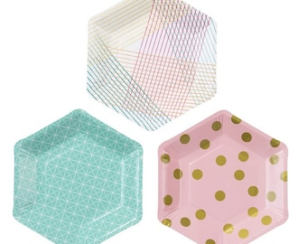 Geo Design and Polka Dot Party Paper Plates