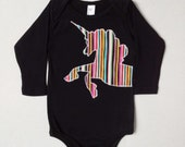 Baby girl rainbow unicorn onesie black long sleeve