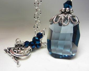 Swarovski Blue Necklace Denim Blue Crystal Necklace Blue Crystal Pendant Montana Blue Necklace Swarovski Victorian Style Gift for her
