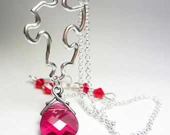 925 Sterling Silver Puzzle Necklace Puzzle Piece Necklace Swarovski Crystal Necklace Ruby Red Necklace You Are My Missing Piece Pendant Gift