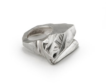 Chunky Sterling Silver Ring, Glacier Ring, Statement Silver Ring, Edgy Ring, Modern ring, Unique Ring, Jewellery, Jewelry, *Free Shipping*