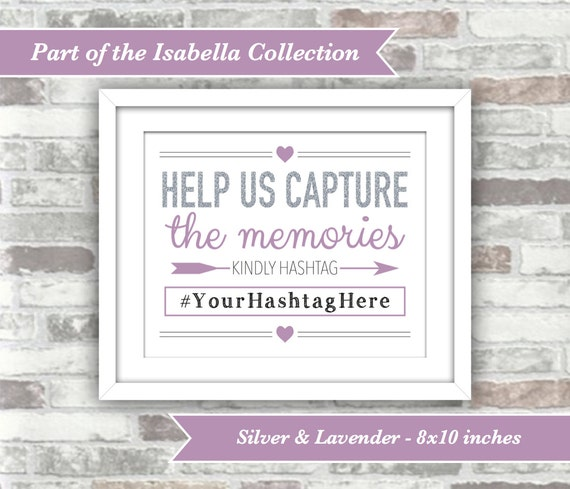PRINTABLE Digital File - Isabella Collection - 8x10 Wedding Hashtag Sign Personalised with your Hashtag - Silver Glitter Effect and Lavender