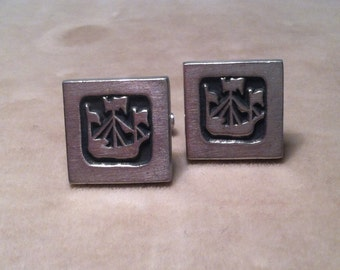 Modernist R.Tennesmed Viking Ship Nautical Pewter Cuff Links