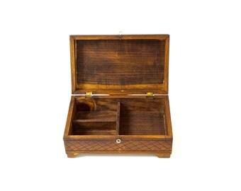 Rustic Woodland Stash Box//Free-Hand Carved Solid Spruce Wood Treasure Chest//Handmade Vintage