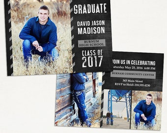 Senior Graduation Announcement Template for Photographers 020 - ID256, Instant Download