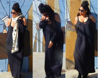 NEW. Harem Oversize Cut-Out Sleeve Long Maxi Dress//Black and Gray