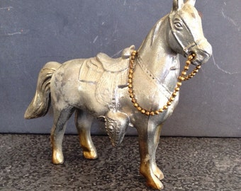 Vintage Cast Metal Horse - 1950's Carnival - Silver Metal Horse - Vintage Cast Horse -  Collectible Metal Horse - 1950's Carnival Prize