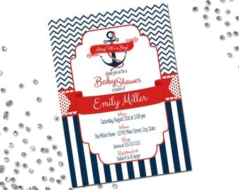 Nautical Baby Shower Invitation - Ahoy Its A Boy - Navy and Red - Chevron Stripes and Stripes -Printable
