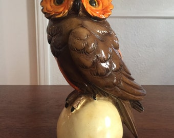 Beautiful Italian Glossy 1970s Italian Glass Eyes Owl