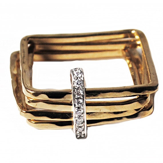 contemporary engagement ring square band engagement
