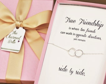 Friendship Necklace, friend gift, Best friend gift, Friend Birthday, Jewelry gift, gift necklace, circle necklace, linked rings, FRI2