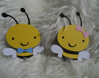 Set of 10 Bumble Bees Boy or Girl? Baby Pink Bow & Baby Blue Bow Tie, Gender Reveal