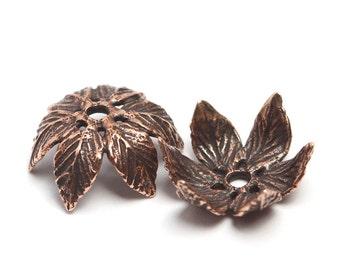 Antique bronze bead caps set, 2 pieces 3118. Leaves, leaf, bud, flower, petal, green, grass, forest, nature bead, caps, set
