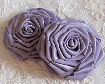 2 Larger Handmade Roses (3 inches) in Thistle MY-430-82 Ready To Ship