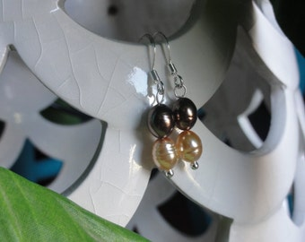 Women's Handmade Elegant Silver Plated Brown And Yellow Freshwater Pearl Dangle Drop Earrings | Silver Plated Earrings | Gift For Her