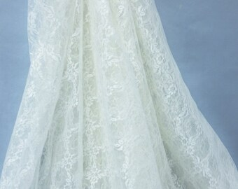 Lace, ivory iridescent fabric
