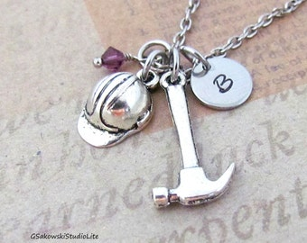 Construction Helmet Hammer Charm Necklace, Personalized Antique Silver Hand Stamped Initial Birthstone Construction Worker Charm Necklace