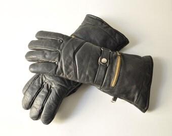 Vintage English Black Leather Motorcycle Gloves Size 6