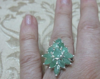 Multi Emerald Sterling Silver Ring Size 7 1/2