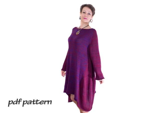 KNITTING PATTERN Sweater dress Womens sweater Boho clothing