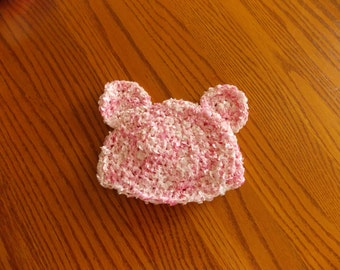 Newborn Teddy Bear Hat - Girl