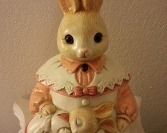 Mama Rabbit and Baby Cookie Jar