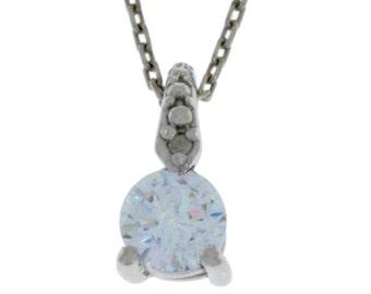 Zirconia & Diamond Round Pendant .925 Sterling Silver