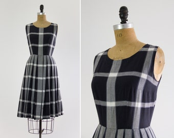 vintage 1950s cotton dress | navy blue plaid 50s day dress | small medium
