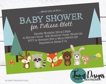 WOODLAND BABY SHOWER Invitation, Printable Birthday Invitation, Woodland  Forest Animals Invitation,Woodland Animals