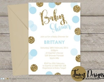BOY BABY SHOWER Invitation, Printable Baby Invitation, Glitter Invitations, Polka Dot Invitation, Gold Blue Confetti Baby Shower Invitation