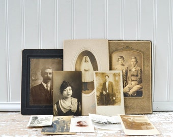 Vintage Photos - Old Antique Photography Cabinet Card Pictures Postcards