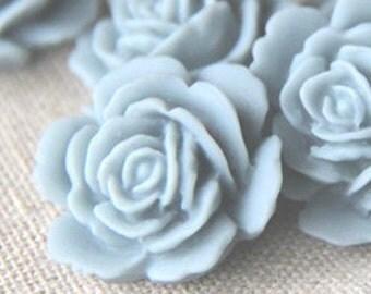 12   pcs of resin rose cabochon 20mm-20 more colors mixture-0054--38-powder blue