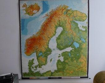 Original Vintage Northern Europe Map - Large Map of Northern Europe Scandinavia Finland - Original Justus Freytag-Berndt Map Circa 1970s