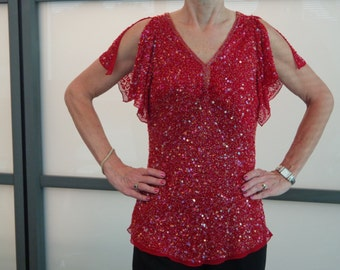 80's Fabulous Papell Boutique Evening Sequined Top Bright Red!